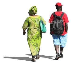 black woman and man walking