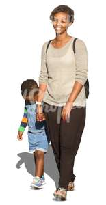 black woman with a child walking and smiling