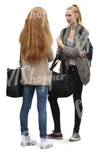 two girls standing and talking