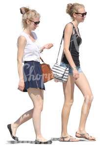 two young women walking on the street
