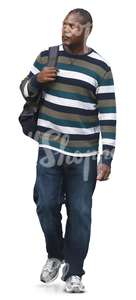 black man in a striped sweater walking