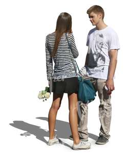 couple with flowers standing and talking