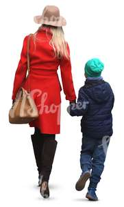 mother in a red coat walking hand in hand with her son