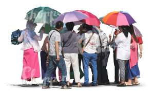 group of asian people with parasols standing together