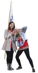 two women with a flag standing and fooling around