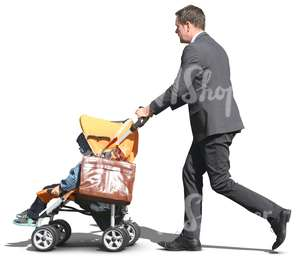 man in a suit pushing a baby carriage