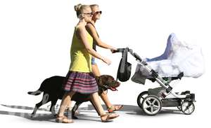 two women and a dog walking with a baby carriage