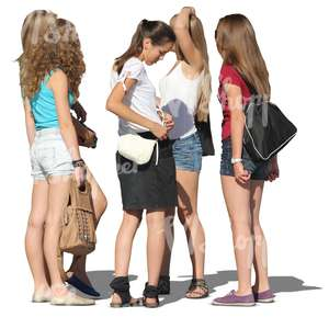 5 teenager girls standing