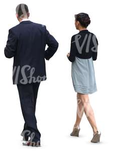 man and woman in formal clothes walking
