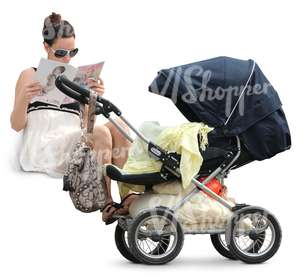 woman sitting next to a baby stroller