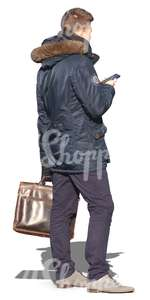 man with a phone and a briefcase