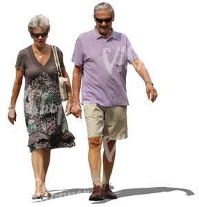 middle-aged couple walking