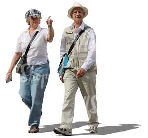 elderly man and woman walking and pointing at smth