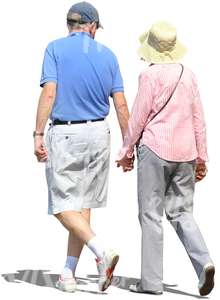 cut out elderly couple walking hand in hand