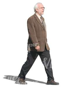 elderly man wearing suit and tie walking
