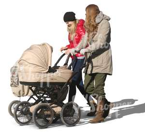 two women with baby carriages walking together