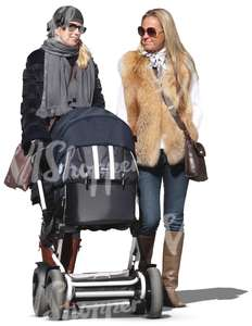 woman and her friend walking a baby together