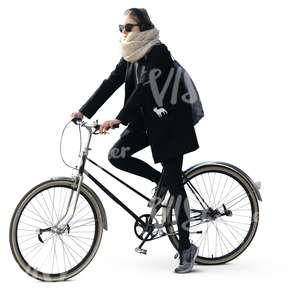 woman in black riding a bicycle