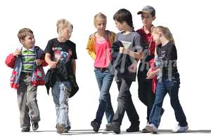 group of six children walking