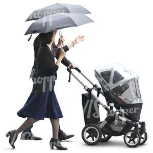 asian family in a formal attire walking in the rain