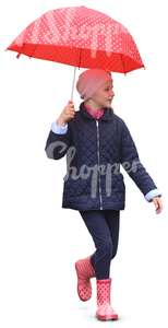 girl with pink wellies walking under a red dotted umbrella