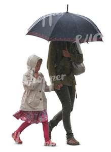 mother and daughter walking in the rain