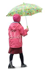 young girl with an umbrella walking in the rain