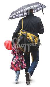 father and daughter with an umbrella and a balloon walking in the rain