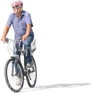 middle-aged man riding a bicycle