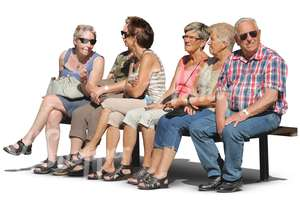 six eldery people sitting in a row on a bench