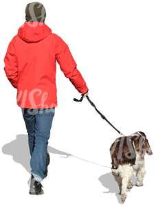 cut out man walking with a dog