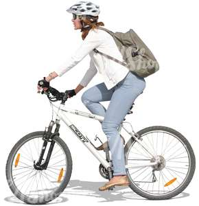 woman wearing a helmet riding a bike