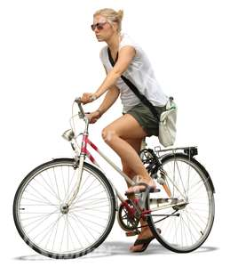 blond woman with sunglasses riding a bike