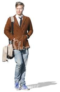 cut out man with a brown jacket walking