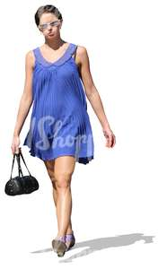 cut out woman in a blue dress waking
