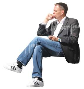 man sitting and thinking