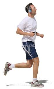 man with headphones jogging