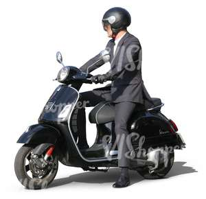businessman riding a motor scooter