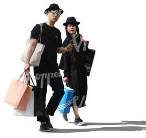 asian couple with shopping bags