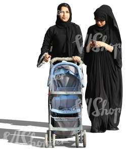 two arab women pushing a baby stroller
