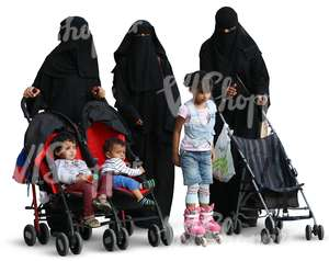 three muslim women walking with children