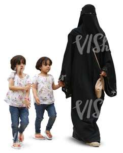 arab woman walking with two children