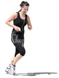 woman with headphones jogging