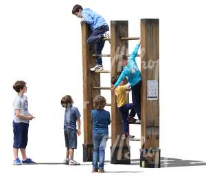 six boys climbing on the playground