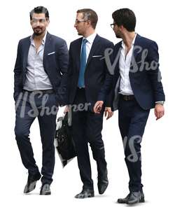 three young businessmen walking and talking