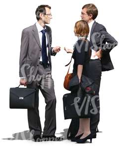 two businessmen and a woman standing and talking