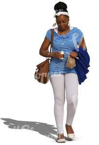 cut out african woman walking