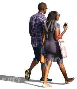cut out african couple walking