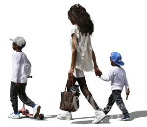 cut out african woman walking with her two sons
