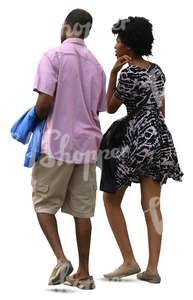 cut out black man and woman walking